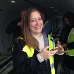 Account Director Stephanie Cooper checks out the new aircraft.